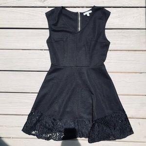 She + sky black dress with lace trim